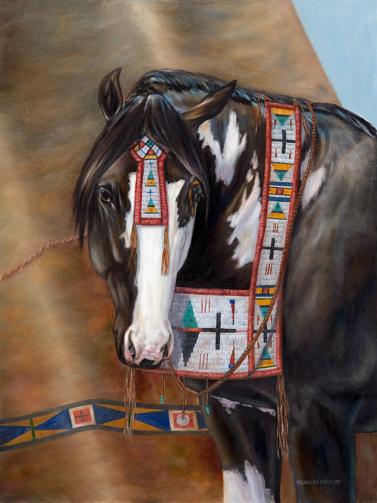A horse stands next to a tepee with Native American garments