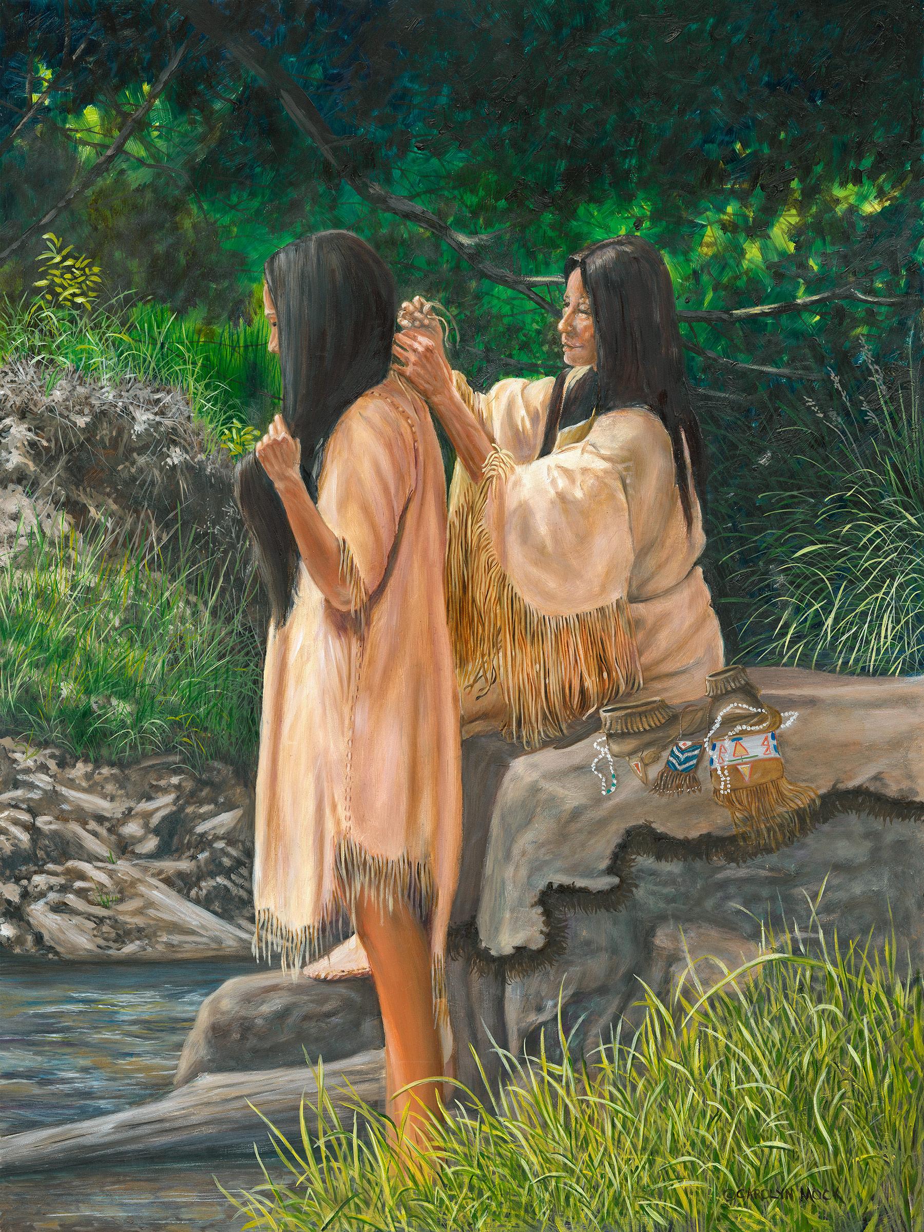 Two Native American women bathe in a stream