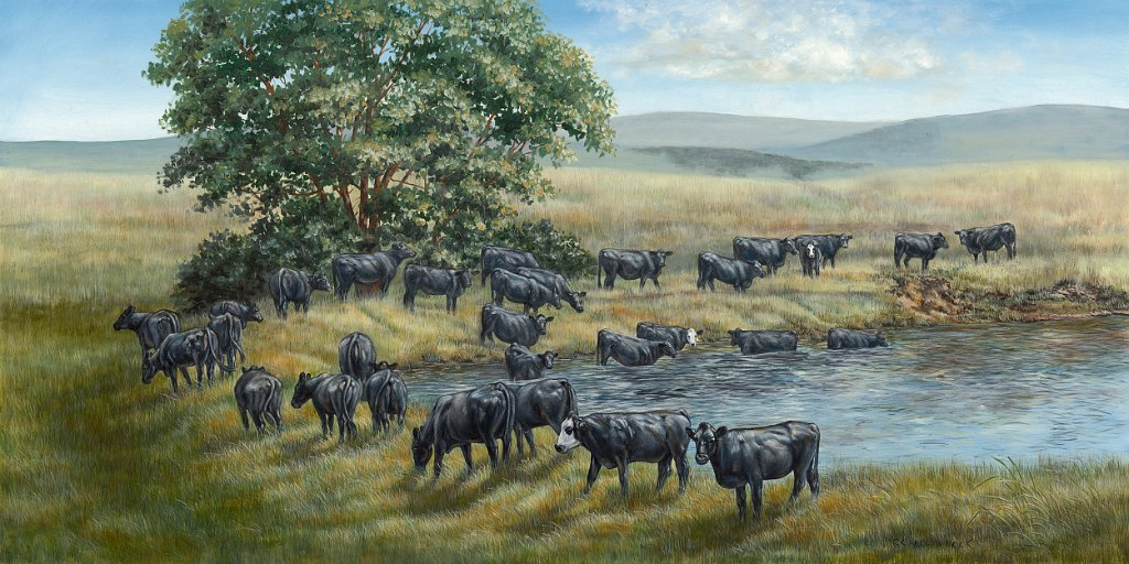 A herd of cattle enjoy all the field has to offer
