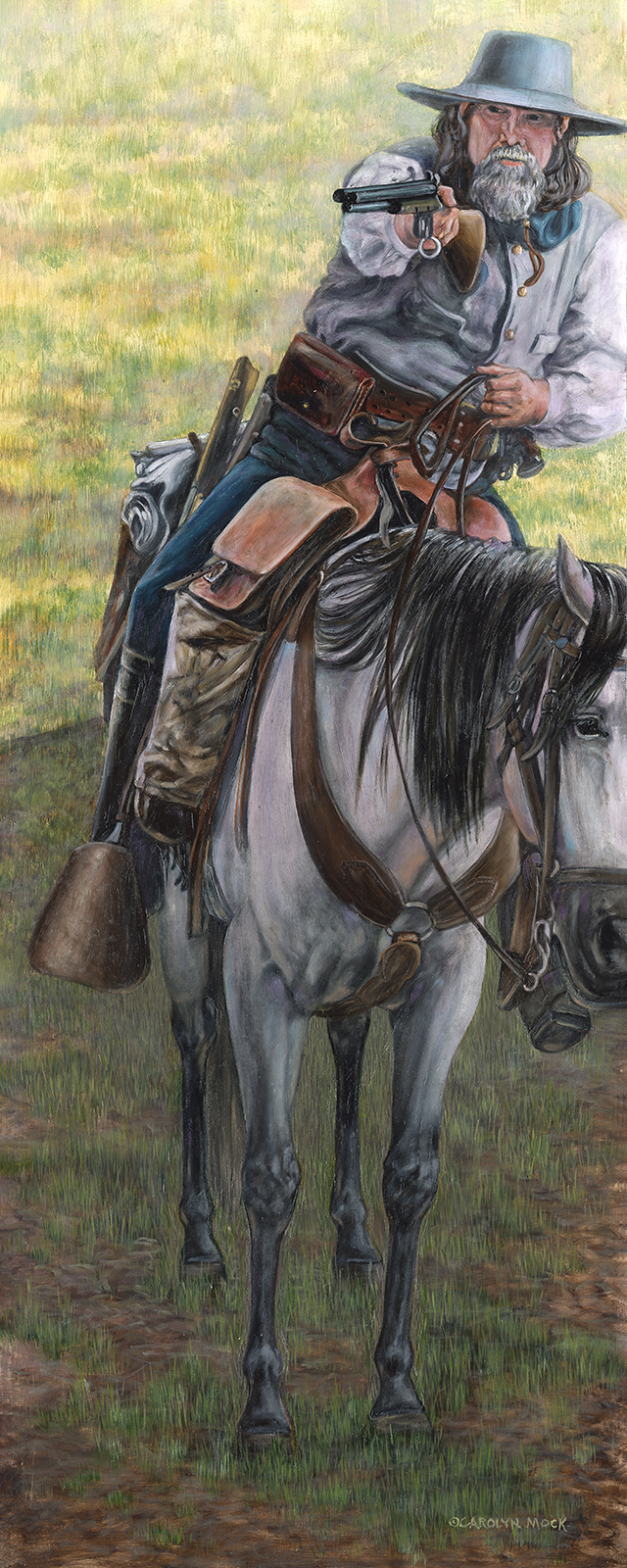 A man aims his gun while riding on horseback.